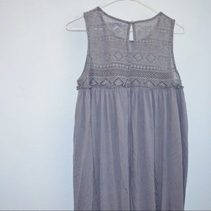 A light gray/blue long dress
